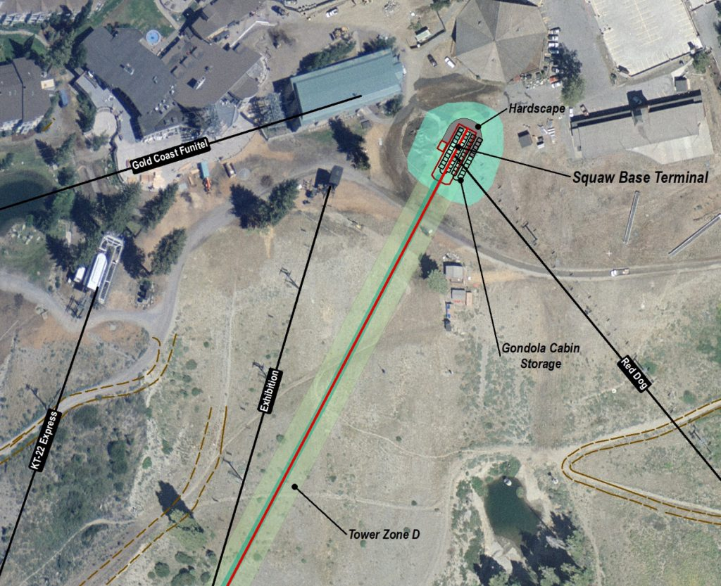 This rendering shows the proposed base terminal for the California Express Gondola at Squaw Valley Ski Resort. (Rendering courtesy squawalpine.com.)