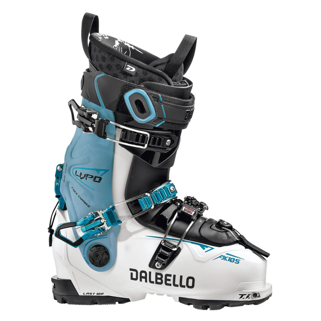 The new Lupo AX 105 W Alpine Touring boot from Dalbello features a low cuff, removable cuff insert and an inverted forefoot buckle. (Photo courtesy of Dalbello.it.)