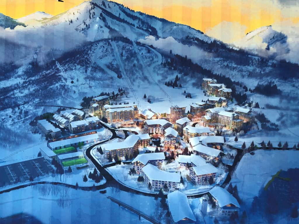 The proposed village at Mayflower Mountain Resort would include a total of three hotels and plenty of shopping and dining. (Rendering courtesy of Extell Development.)