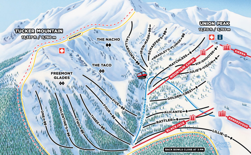 A new lift at the base of Blackjack chairlift will provide access to Tucker Mountain that was previously only accessible by Snowcat. (Map courtesy Copper Mountain Resort.)