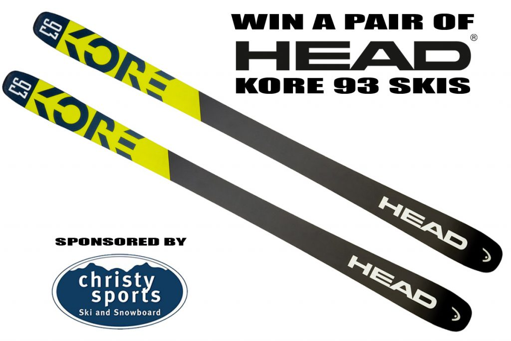 Follow these simple instructions to sign up for a free pair of 2020 Head Kore 93 skis, available in men's or women's.) This giveaway is sponsored by Christy Sports.