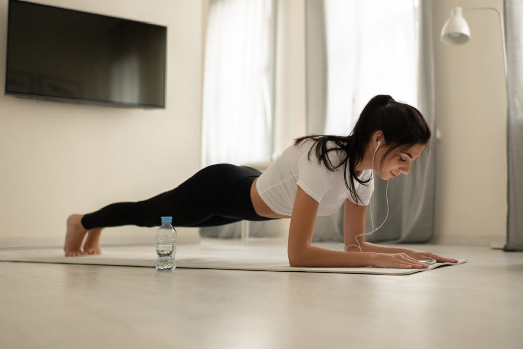 Stay parallel to the ground when planking for best results.