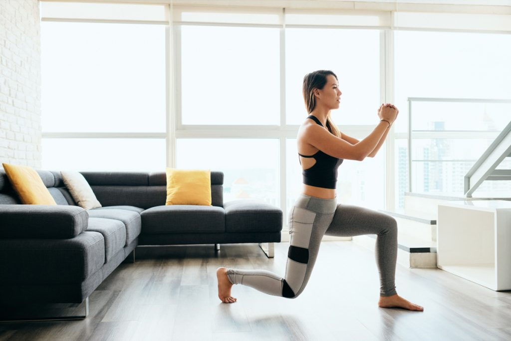 Lunges are easy to do at home because they don't take a lot of room. When doing lunges, keep your back leg slightly off the ground while you dig deep.
