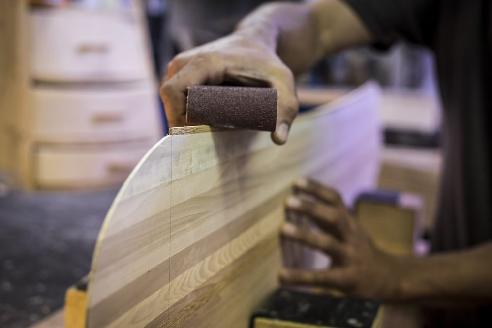 Austrian snowboard maker Baguette Boards crafts each custom snowboard by hand. (Photo courtesy Baguette Boards.)