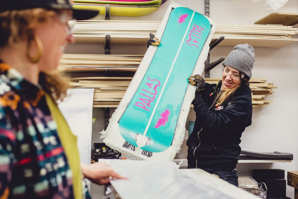 Pallas Snowboards makes custom snowboards for women that are ideal for terrain parks, backcountry, powder and groomers. (Photo courtesy Pallas Snowboards.)